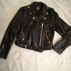 Black belted moto jacket never been worn